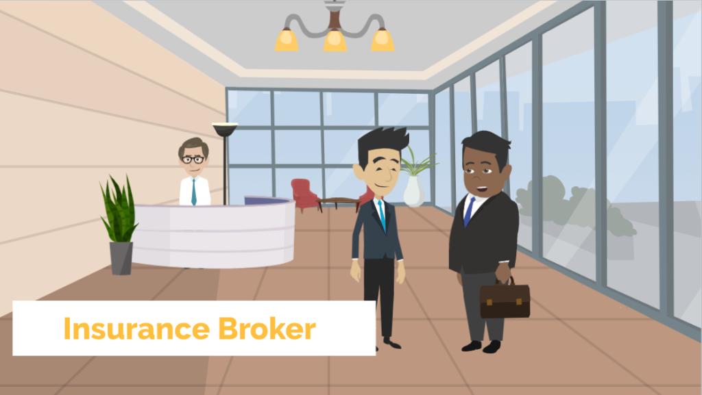 Insurance broker meets client